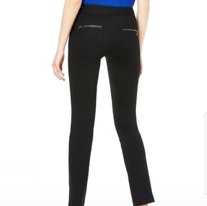 INC Black Slim Fit Straight Pants Zipper Pockets